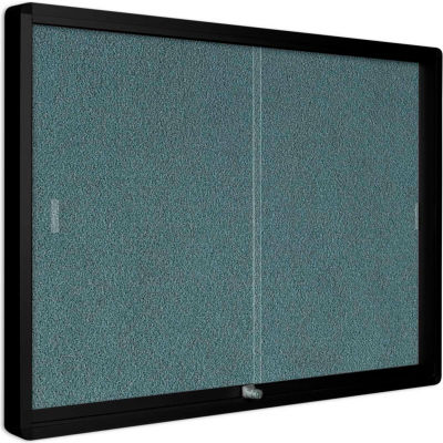 """MasterVision Gray Fabric Bulletin Enclosed Cabinet, 36"""" x 48"""", Two Glass Sliding Doors"""
