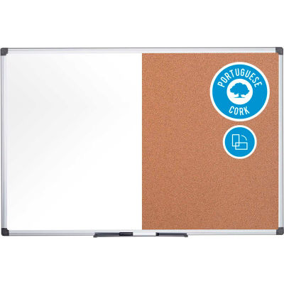 "MasterVision Combo Dry Erase/Cork Bulletin Board, 72"" x 48"", Aluminum Frame"