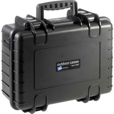 """B&W Type 4000 Medium Outdoor Waterproof Case W/ Sponge Insert Foam 16-1/2""""L x 13""""W x 7H, Black"""