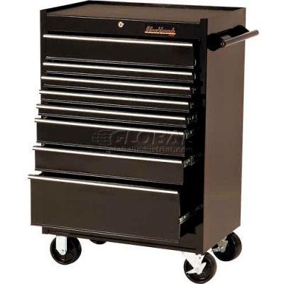 "Blackhawk 92708R 27""W X 18""D X 41-1/2""H 8 Drawer Black Roller Cabinet"