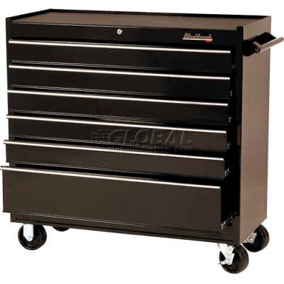 "Blackhawk 94106R 41""W X 18""D X 41-1/2""H 6 Drawer Black Roller Cabinet"