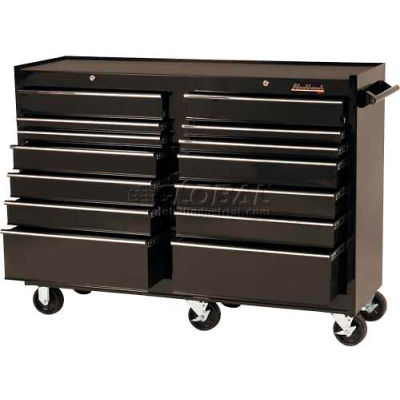 "Blackhawk 95414R 54""W X 18""D X 41-1/2""H 14 Drawer Black Roller Cabinet"