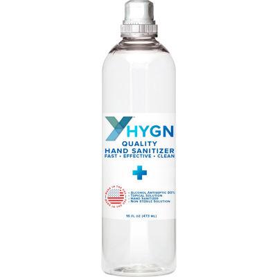 HY-GN Alcohol Gel Hand Sanitizer - 16 oz. Bottle w/ Flip Top Lid - 24 Bottles/Case
