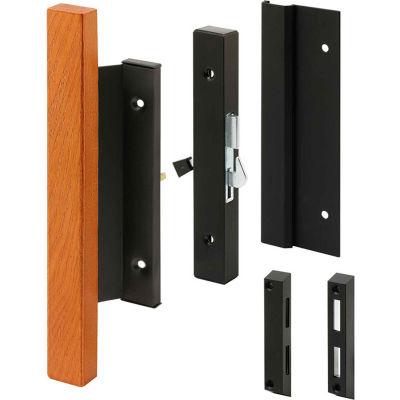 Prime-Line C 1061 Sliding Door Handle Set, Black Finish, Wood Handle