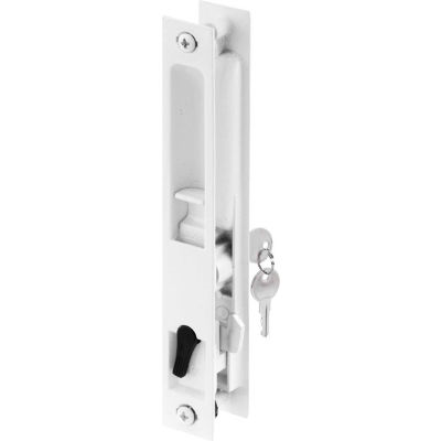 Prime-Line C 1129 Sliding Door Flush Handle Set, Keyed, White Diecast