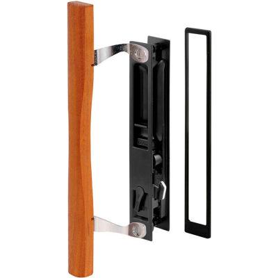Prime-Line C 1130 Sliding Door Handle Set, Black Diecast, Wood Pull, Croft