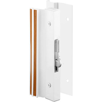 Prime-Line C 1203 Sliding Glass Door Handle Lock, Hook Style, Surface Mount, White, Aluminum
