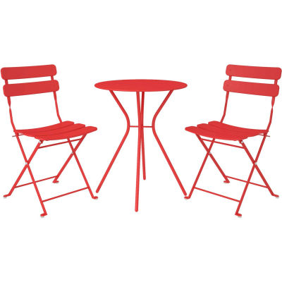 Bridgeport™ Outdoor Living 3 Piece Bistro Set with 2 Folding Chairs, Red