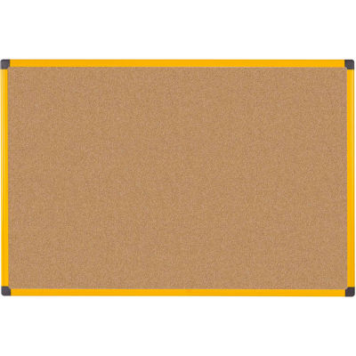 "MasterVIsion Industrial Ultrabrite Cork Bulletin Board, 40"" X 60"", Yellow Frame"