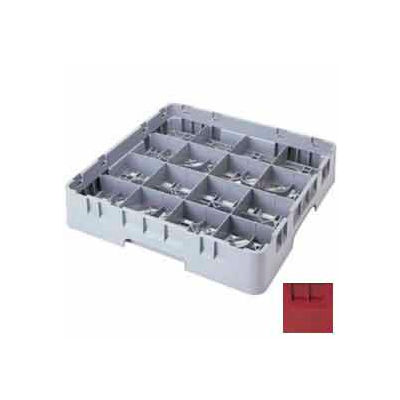 "Cambro 16S418416 - Camrack  Glass Rack 16 Compartments 4-1/2"" Max. Height Cranberry NSF - Pkg Qty 5"