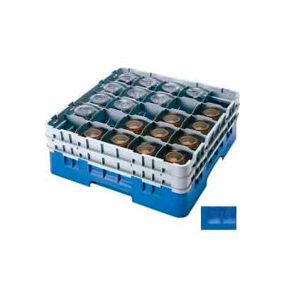 """Cambro 25S738168 - Camrack Glass Rack Low Profile 25 Compartments 7-3/4"""" Max. Height Blue NSF - Pkg Qty 3"""