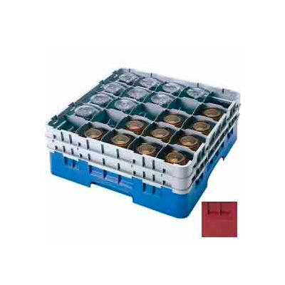 """Cambro 25S738416 - Camrack Glass Rack Low Profile 25 Compartments 7-3/4"""" Max. Height Cranberry - Pkg Qty 3"""