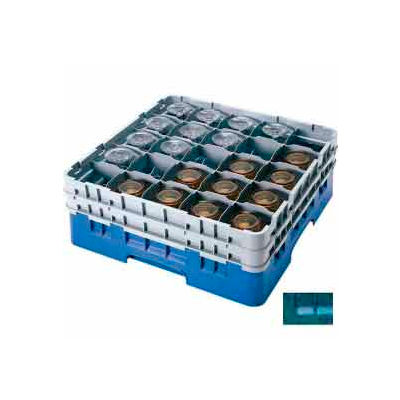 "Cambro 25S958414 - Camrack  Glass Rack 25 Compartments 10-1/8"" Max. Height Teal NSF - Pkg Qty 2"