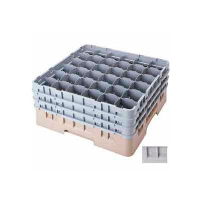 """Cambro 36S434151 - Camrack Glass Rack Low Profile 36 Compartments 5-1/4"""" Max. Height Soft Gray - Pkg Qty 4"""