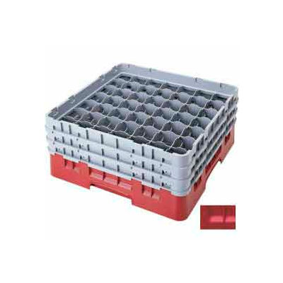 """Cambro 49S638163 - Camrack  Glass Rack 49 Compartments 6-7/8"""" Max. Height, Red, NSF - Pkg Qty 3"""
