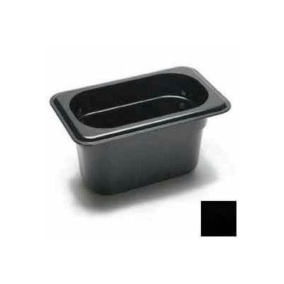 "Cambro 94CW110 - Food Pan, Plastic, 1/9 Size, 4"" Deep, Black - Pkg Qty 6"