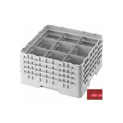 """Cambro 9S318163 - Camrack  Glass Rack 9 Compartments 3-5/8"""" Max. Height Red NSF - Pkg Qty 5"""