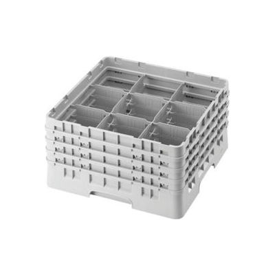 "Cambro 9S638151 - Camrack  Glass Rack 9 Compartments 6-7/8"" Max. Height Soft Gray NSF - Pkg Qty 3"