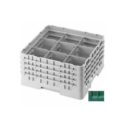 "Cambro 9S958119 - Camrack  Glass Rack 9 Compartments 10-1/8"" Max. Height Sherwood Green NSF - Pkg Qty 2"