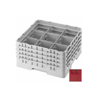 "Cambro 9S958416 - Camrack  Glass Rack 9 Compartments 10-1/8"" Max. Height Cranberry NSF - Pkg Qty 2"