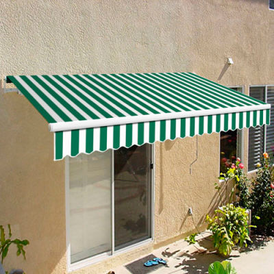 """Awntech CAM10-FW Retractable Awning Manual 10'W x 7""""H x 8'D Forest Green/Whtie"""