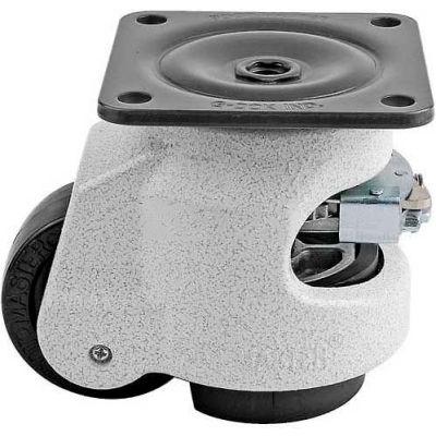Foot Master® Swivel Plate Ratchet Leveling Caster GDR-80F - 1100 Lb. - 50mm Dia. Nylon Wheel