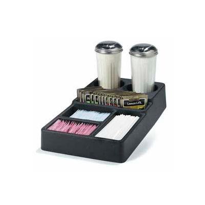 "Carlisle 1082803 - 6-Compartment Coffee Service Condiment Caddy 14-1/2"", 8-1/4"", 2-7/8"", Black - Pkg Qty 12"