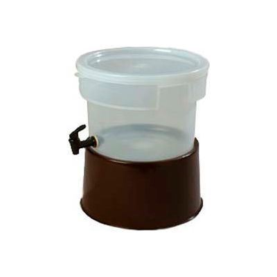 Carlisle 222701 - Beverage Dispenser W/Base, 3-Gallon Capacity, Clear Bowl And Cover, Decals, Brown
