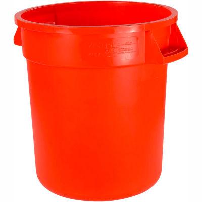 Carlisle Bronco Round Waste Container 32 Gallon, Orange - 34103224 - Pkg Qty 4