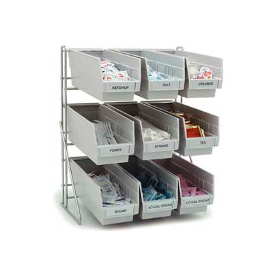 """Carlisle 381109LG - Frame Packet Rack, Holds 9 Containers, Gray, 19""""H x 18""""W x 12""""D, Aluminum"""