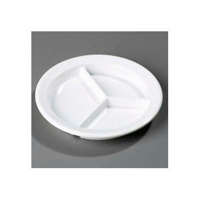 """Carlisle 4351602 - Dallas Ware® 3-Compartment Deep Plate 9"""", White - Pkg Qty 24"""