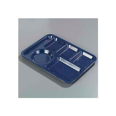 Carlisle 4398035 - Left-Hand Heavy Weight 6-Compartment Tray, Caf? Blue - Pkg Qty 12