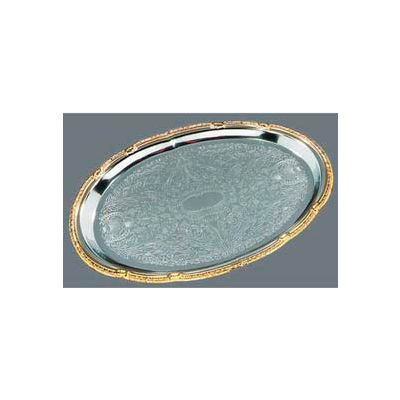 "Carlisle 608913 - Celebration™ Oval Tray W/ Gold Border 17-3/4"" x 12-7/8"" - Pkg Qty 12"