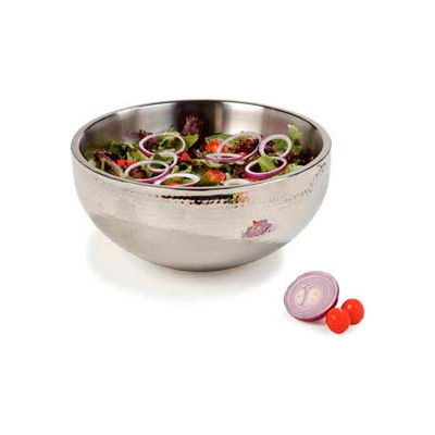 "Carlisle 609204 - Dual Angle Bowl W/Hammered Finish 9-1/2 Qt., 14"", Stainless Steel - Pkg Qty 2"