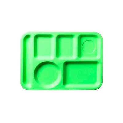 Carlisle 61409 - Left-Hand 6-Compartment Tray, Green - Pkg Qty 24
