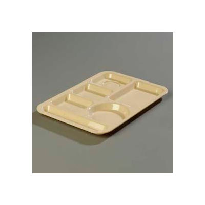 Carlisle 61425 - Left-Hand 6-Compartment Tray, Abs Tan - Pkg Qty 24