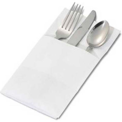 """Dinex DX6999PF0202 - White Solid Color, Recycled Pocketfold Napkin, 17"""" x 17"""", White"""