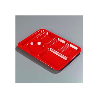 Carlisle P61405 - Left-Hand 6-Compartment Tray, Red - Pkg Qty 24