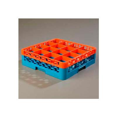 Carlisle RG16-1C412 - Opticlean™ 16-Compartment Glass Rack W/ 1 Extender, Orange-Carlisle Blue - Pkg Qty 4