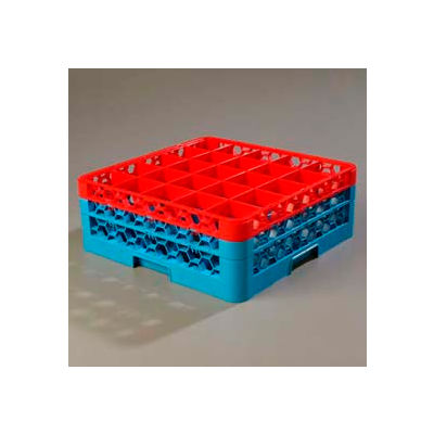 Carlisle RG25-2C410 - Opticlean™ 25-Compartment Glass Rack W/ 2 Extenders, Red-Carlisle Blue - Pkg Qty 3