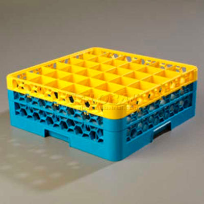 Carlisle RG36-2C411 - OptiClean™ 36-Compartment Glass Rack W/2 Extenders, Yellow-Blue