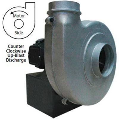 Americraft Aluminum Blower, HADP9-1/2-T-TE-CCWUB, 1/2 HP, 3 PH, TEFC, CCW, Upblast
