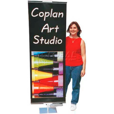 Silver Double Sided Sign Stands, 2'W Height From 3' - 8'