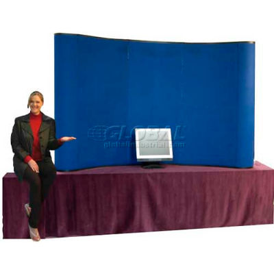 Curved Table Top Pop Up, Blue, 8'W x 5'H Curved Hook & Loop Receptive