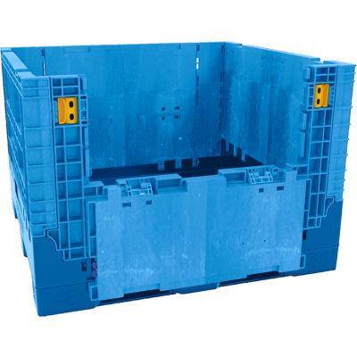 "Buckhorn BN4845342023000 Folding Bulk Shipping Container - 48""L x 45""W x 34""H, 2500 Lb. Cap. Blue"