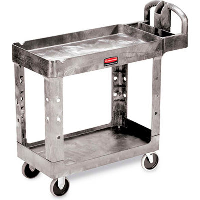 "Rubbermaid® Premium Universal Plastic Utility Cart, 2 Shelf, 30""Lx16""W, Gray"
