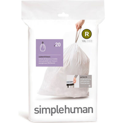 Plastic Liner For Simplehuman Rectangular Stainless Steel Waste Cans - Case Of 20
