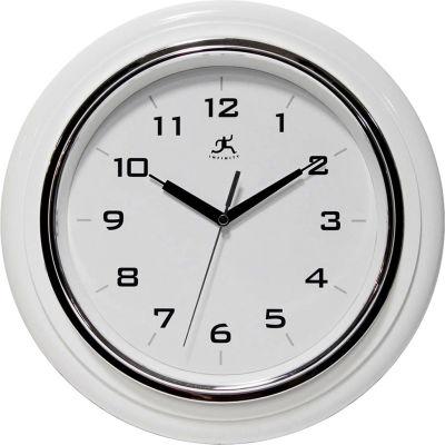 """Infinity / ITC  Deluxe Clock - 12-1/2"""" Diameter White"""