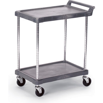 "Olympic Storage Utility Cart With Chrome Posts, 2 Shelf, 38""Lx17""W, Gray"