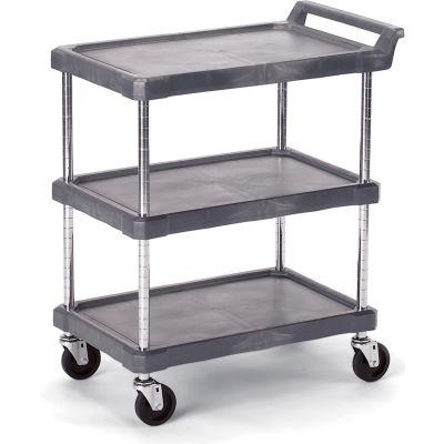 """Olympic Storage Utility Cart With Chrome Posts, 3 Shelf, 38""""Lx17""""W, Gray"""